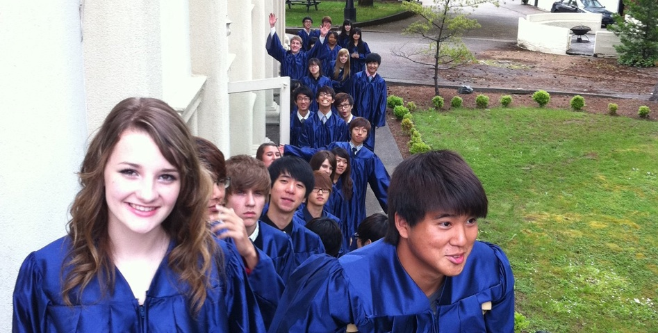 canyonville christian academy's graduating class lined up for Baccalaureate Sunday