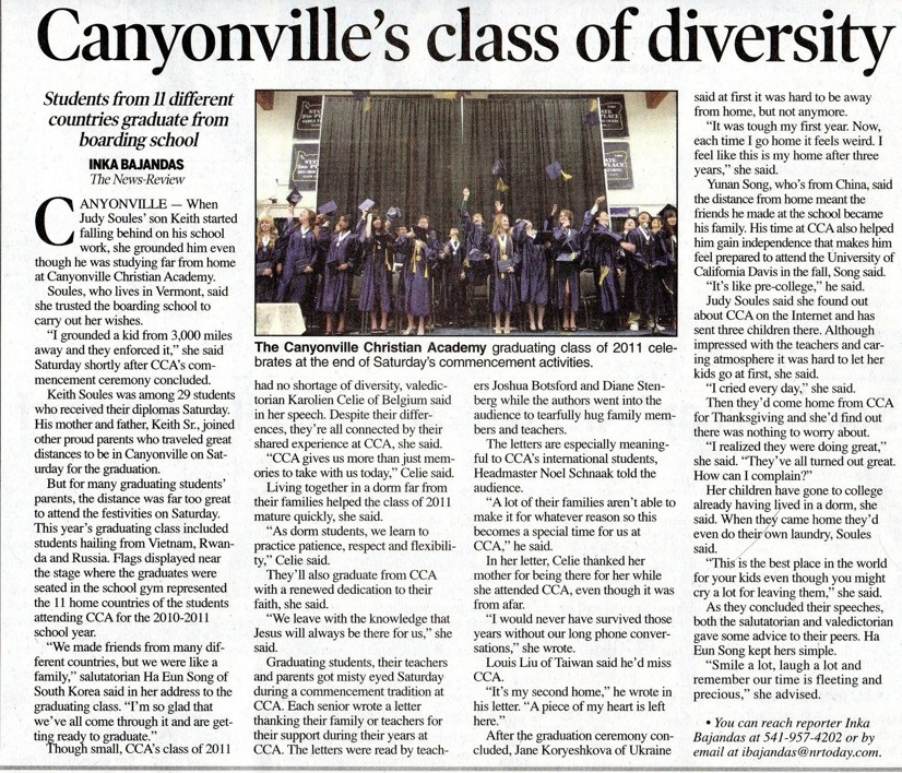 private boarding school has diverse class graduation! canyonville, oregon