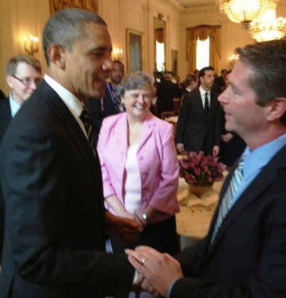 Canyonville Christian Academy Board Member shakes hands with President Obama in the White House