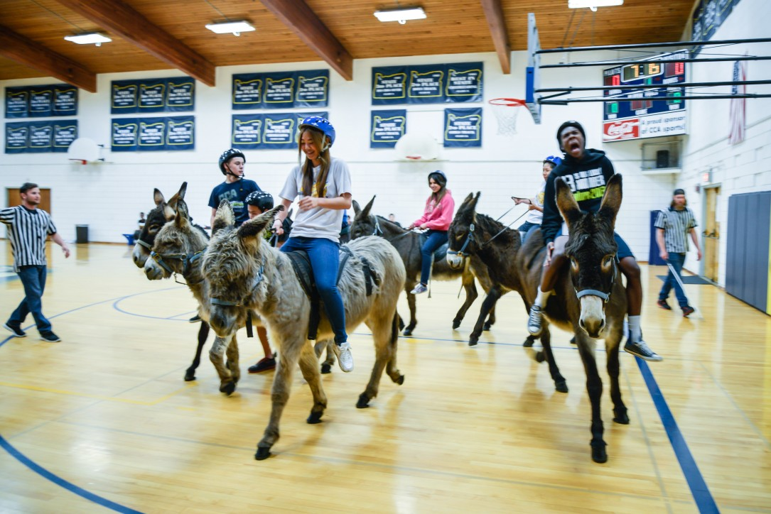 Donkey Basketball Game Held At Private Boarding School