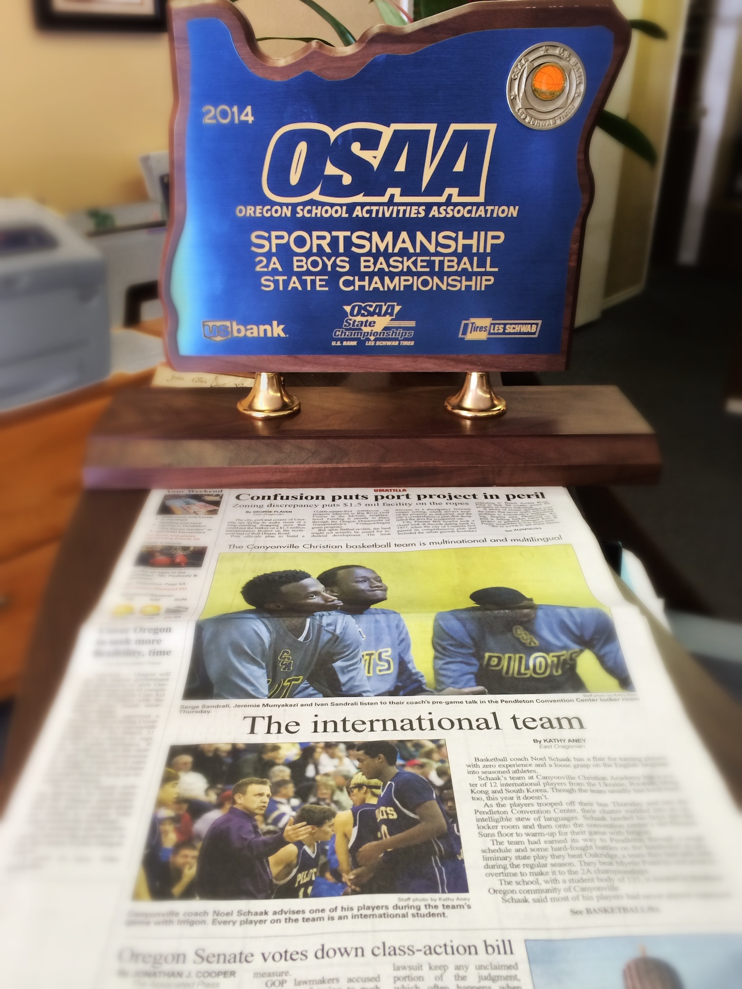 canyonville christian academy, osaa, sportsmanship trophy, state championship