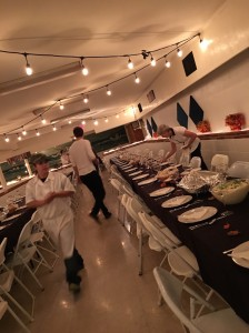 boarding school cafeteria, prepared for Thanksgiving,