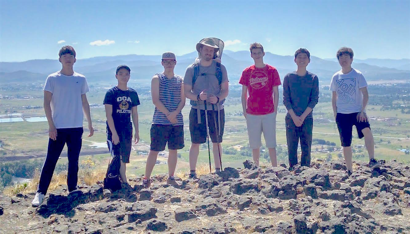 hobby group at boarding high school hikes up to Table Rock