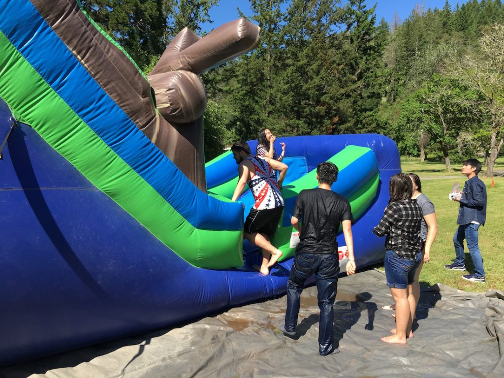christian boarding school, summer party, water slide