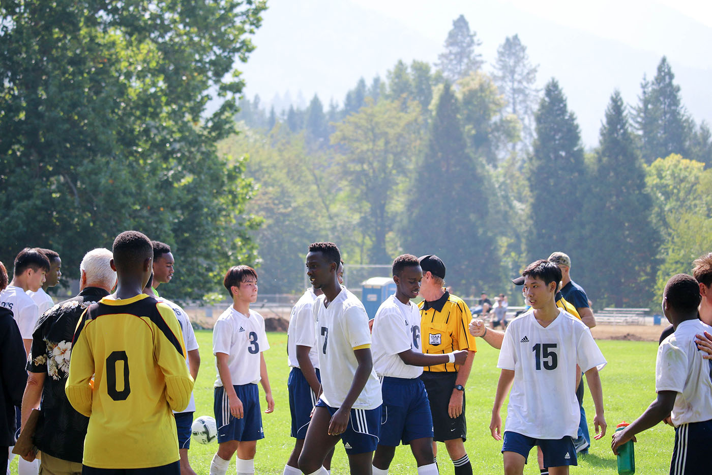 Boys Soccer team after a good game at Christian Boarding School Canyonville Christian Academy, in southern Oregon