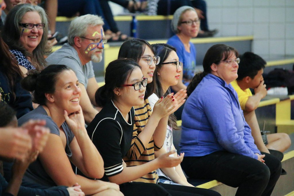 International Students Cheer on Girls' Volleyball Team at Best American Boarding School