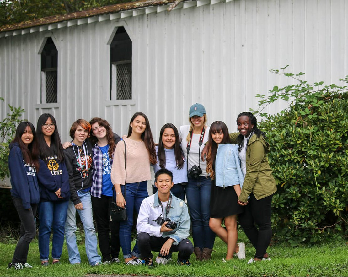 canyonville christian academy's, photography club, takes a picture, by one of Oregon's covered bridges