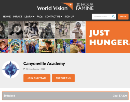 Christian boarding school, Canyonville Academy, students take part of 30 hour famine to help children.