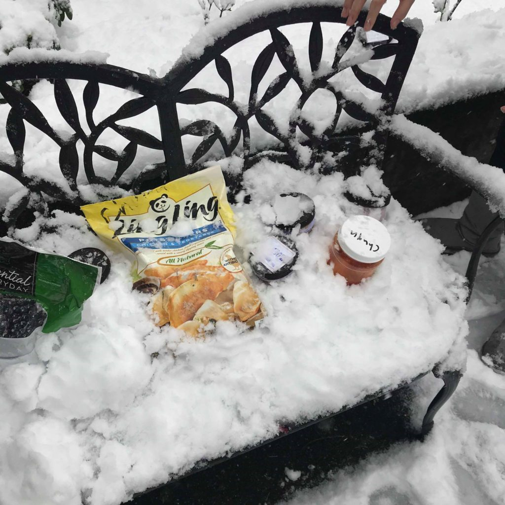 To make sure food didn't spoil, we stored it in the snow!
