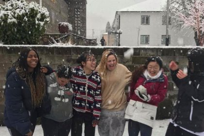 Even without power on the Canyonville Academy campus during the snowstorm, the students had fun!