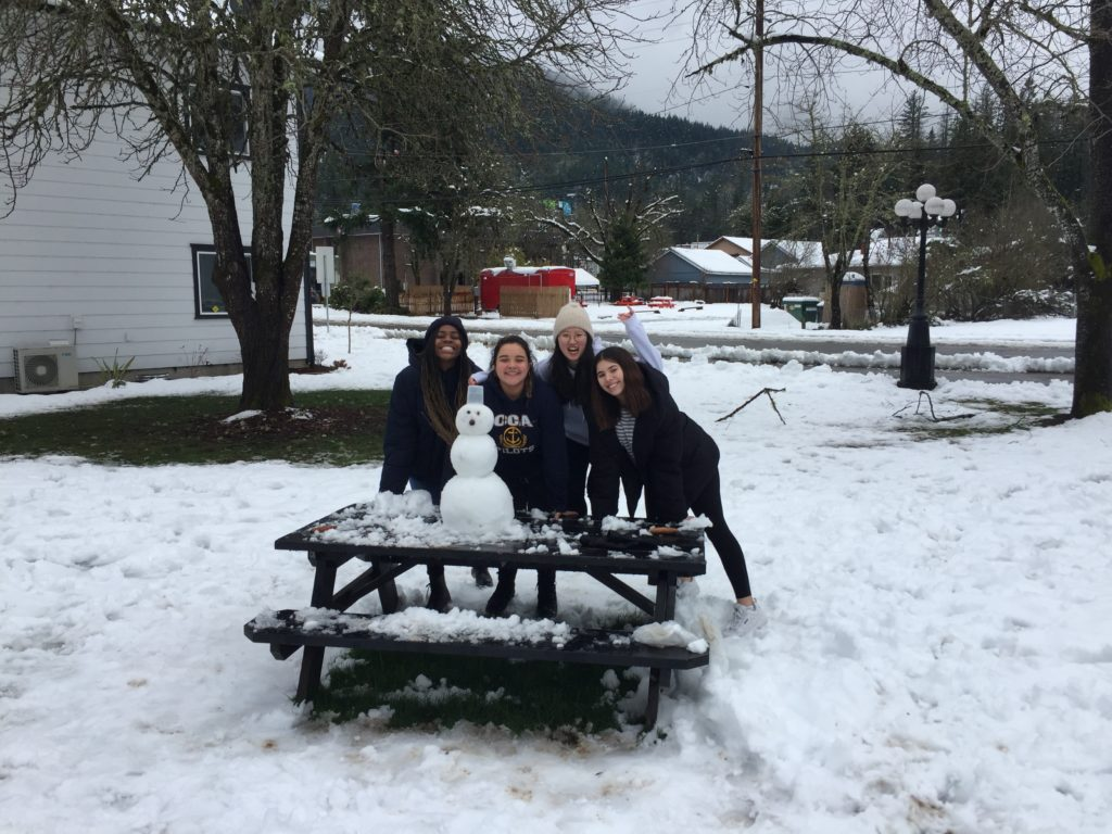 In Southern Oregon, at Canyonville Academy, a college preparatory high school, the campus experienced a huge snow storm.