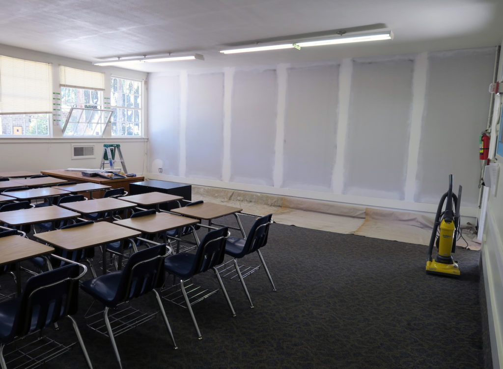 classroom remodel and cleanup, at Canyonville Academy, a Christian boarding school,