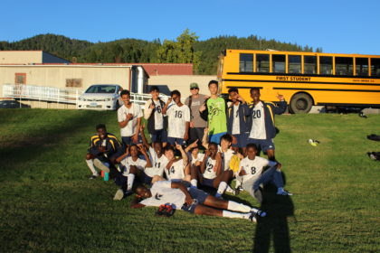 The Canyonville Academy boy's soccer team poses for a photo.